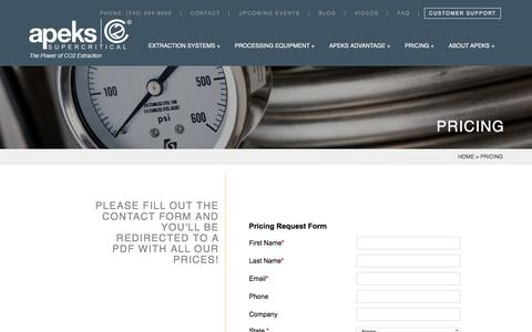 Screenshot of Pricing Page apekssupercritical.com - Pricing | CO2 Extraction Machine Prices | Apeks Supercritical - captured June 21, 2018