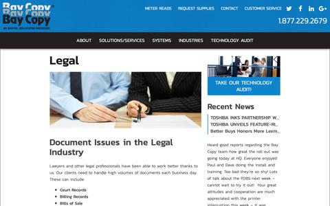 Screenshot of Terms Page baycopy.com - Legal | Bay Copy - captured Oct. 5, 2018