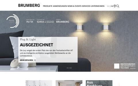 Screenshot of Home Page brumberg.com - LED Leuchten, Beleuchtung und Lichtlösungen › Brumberg - captured Oct. 15, 2018
