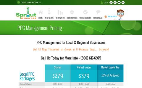 Screenshot of Pricing Page sproutmedialab.com - Cost of PPC Management | Pay Per Click Mgmt Pricing Raleigh Triangle & Central FL - captured Oct. 21, 2016