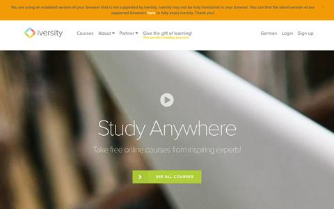 Screenshot of Home Page iversity.org - iversity -  Open Online Courses - Study Anywhere - captured Dec. 11, 2015