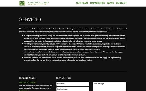 Screenshot of Services Page cpturf.com - Services | Controlled Products, LLC - captured Oct. 2, 2014