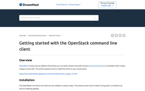 Screenshot of Support Page dreamhost.com - Getting started with the OpenStack command line client – DreamHost - captured Feb. 21, 2020