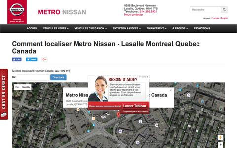 Screenshot of Maps & Directions Page metronissan.ca - Comment localiser Metro Nissan -  Lasalle Montreal Quebec Canada | Metro Nissan -  Lasalle Montreal Quebec Canada - captured Aug. 10, 2016
