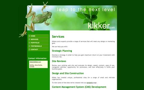 Screenshot of Services Page kikker.com - Kikker.com - Leap to the next level - Services - captured Jan. 9, 2016