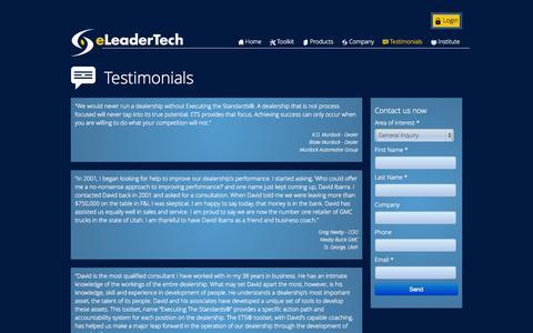 Screenshot of Testimonials Page eleadertech.com - eLeaderTech Inc. - captured Oct. 3, 2014