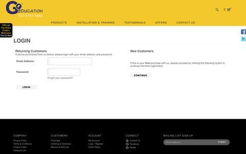 Screenshot of Login Page goeducation.co.uk - Login - captured Nov. 10, 2016