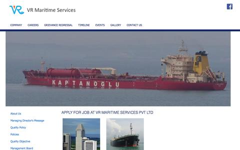 Screenshot of Jobs Page vrmaritime.com - VR Maritime Services Pvt. Ltd. - captured Oct. 26, 2014