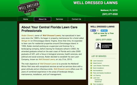 Screenshot of About Page welldressedlawns.com - WELL DRESSED LAWNS  Lawn Care Services :: About - captured Jan. 10, 2016