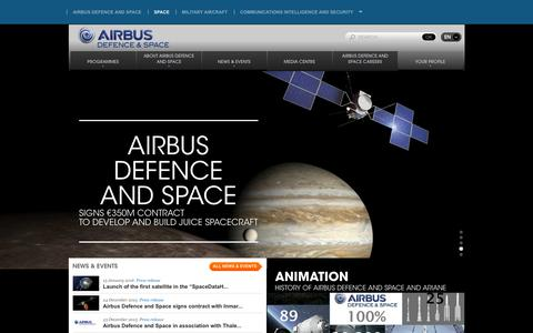 Screenshot of Home Page space-airbusds.com - The European space company - captured Jan. 22, 2016