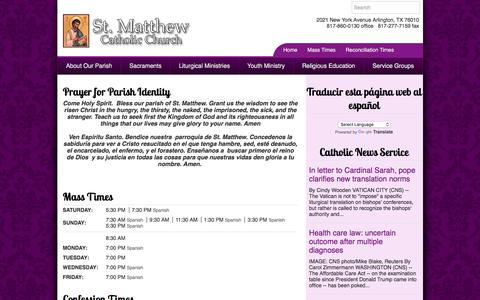 Screenshot of Home Page stmattcc.org - St. Matthew Catholic Church | Arlington, TX - captured Oct. 23, 2017