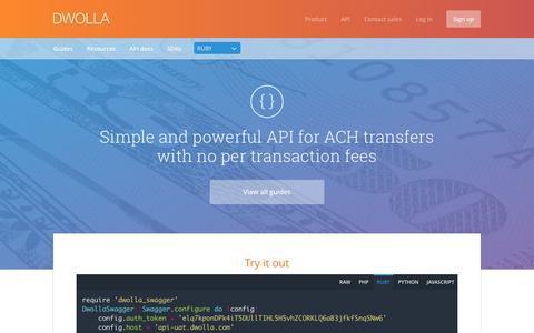 Screenshot of dwolla.com - Developers Home   Dwolla API - captured March 19, 2016