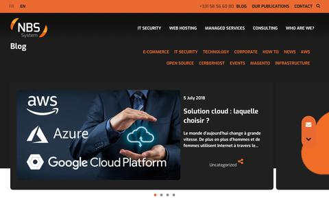 Screenshot of Blog nbs-system.com - Blog : IT security, Cloud, managed hosting - NBS System - captured Sept. 22, 2018