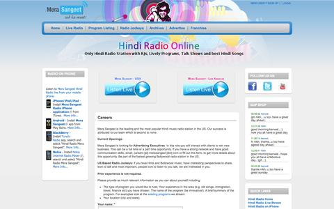Screenshot of Jobs Page merasangeet.com - Careers | Hindi Radio Mera Sangeet | Online Radio featuring RJs, Live Programs, Talk Shows and Best Hindi Music | 1 - captured Oct. 26, 2014