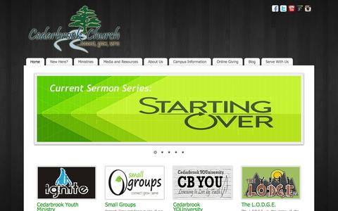 Screenshot of Home Page cedarbrookchurch.net - Cedarbrook Church | Connect, Grow, and Serve at our Refreshing, Upbeat, Bible Based Church in Menomonie, Wisconsin! - captured Sept. 29, 2014