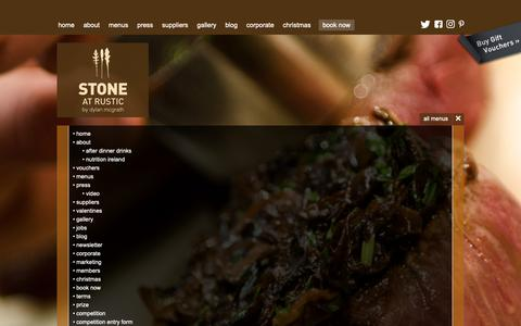 Screenshot of Site Map Page rusticstone.ie - Rustic Stone Restaurant by Dylan McGrath - Sitemap - captured Oct. 20, 2018