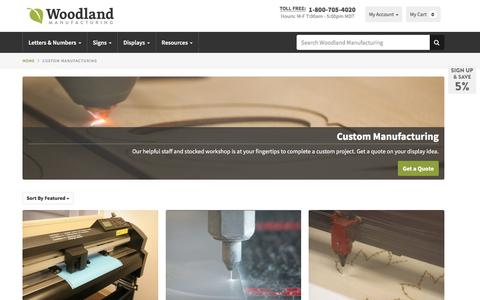 Screenshot of Services Page woodlandmanufacturing.com - Custom Manufacturing - Affordable Signs & Displays | Woodland Manufacturing - captured Oct. 7, 2017