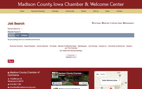 Screenshot of Jobs Page madisoncounty.com - Job Search - Madison County, Iowa Chamber & Welcome Center - captured Nov. 17, 2016
