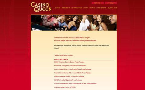 Screenshot of Press Page casinoqueen.com - Casino Queen - Home of the Loosest Slots - Media - captured Oct. 2, 2014