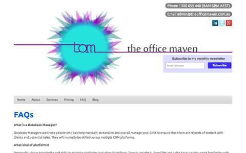 Screenshot of FAQ Page theofficemaven.com.au - The Office Maven - captured Oct. 9, 2014