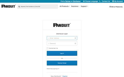 Screenshot of Login Page panduit.com - Panduit | Sign In - captured Sept. 20, 2019