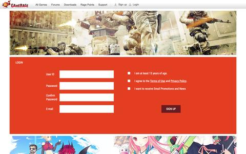 Screenshot of Signup Page gamerage.com - GameRage : Home of Free Online Games – Get Fired Up! - captured July 20, 2016