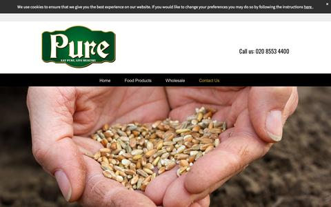 Screenshot of Contact Page pureglobalfoods.com - Pure Global Foods your food supplier in London - captured July 24, 2018