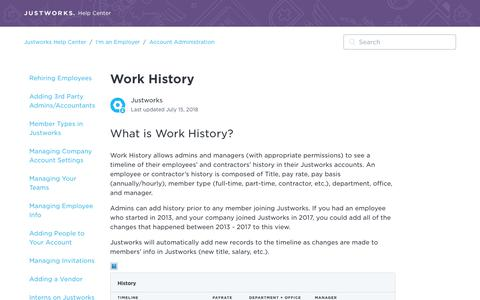 Screenshot of Support Page justworks.com - Work History – Justworks Help Center - captured May 10, 2019
