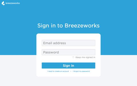 Screenshot of Login Page breezeworks.com - Breezeworks web client - captured Jan. 20, 2017