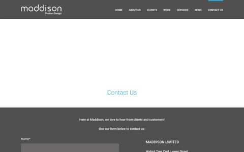 Screenshot of Contact Page maddison.co.uk - Contact us - Maddison product design, West sussex - captured Feb. 4, 2016