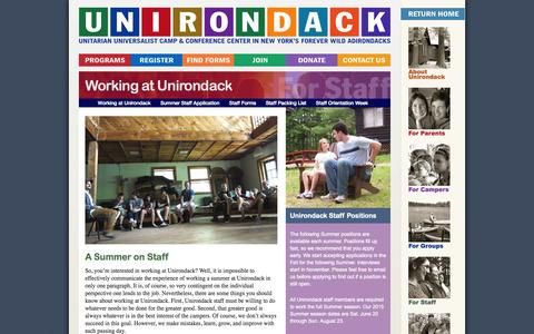 Screenshot of Jobs Page unirondack.org - Working at Unirondack | Camp Unirondack - captured Oct. 1, 2014