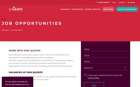 Screenshot of Jobs Page donquijote.org - Work in don Quijote's offices and schools - captured Sept. 22, 2018
