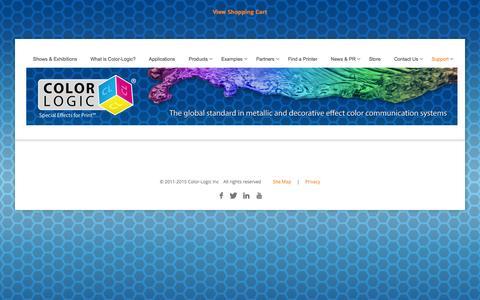 Screenshot of Support Page color-logic.com - COLOR-LOGIC   Special Effects for Print - captured Jan. 29, 2016