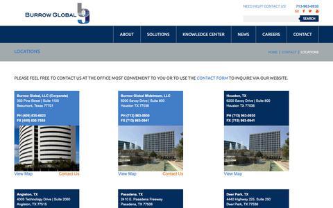 Screenshot of Locations Page burrowglobal.com - EPC Services Leader in Texas, Louisiana, Oklahoma | Burrow Global Companies - captured Dec. 26, 2018