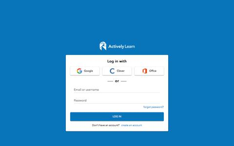 Screenshot of Signup Page Login Page activelylearn.com - Sign In to Actively Learn - captured Aug. 14, 2019