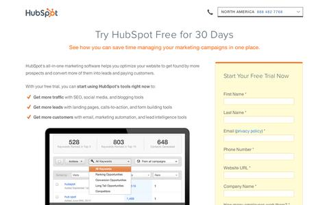 Screenshot of Trial Page hubspot.com - HubSpot 30 Day Trial | Content Marketing Software - captured Sept. 11, 2014