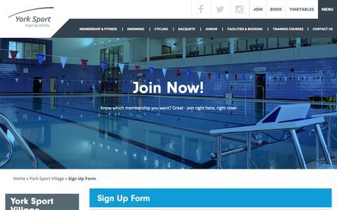 Screenshot of Signup Page york-sport.com - York Sport   Membership   Join Now - captured Dec. 1, 2018