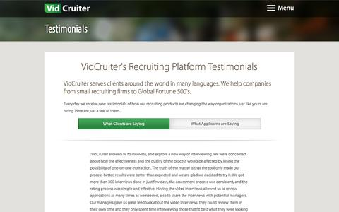 Screenshot of Testimonials Page vidcruiter.com - Recruiting Platform and Online interviews Testimonials - VidCruiter - captured Jan. 10, 2016