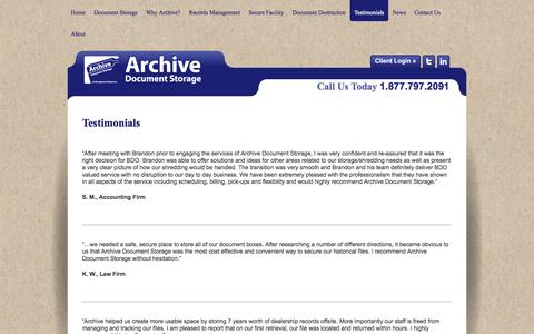 Screenshot of Testimonials Page archiveontario.com - » Testimonials - captured Oct. 4, 2014