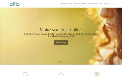 Screenshot of Home Page affio.co.uk - Affio - Make your will online - Clear | Simple | Legal - captured Jan. 21, 2015