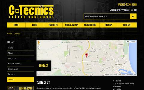 Screenshot of Contact Page c-tecnics.com - Contact - C-Tecnics - Subsea Equipment and Electronics - captured Sept. 26, 2014
