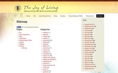 Screenshot of Site Map Page thejoyofliving.co - Sitemap - The Joy of Living Psychotherapist Maryanne Nicholls - captured Oct. 10, 2014