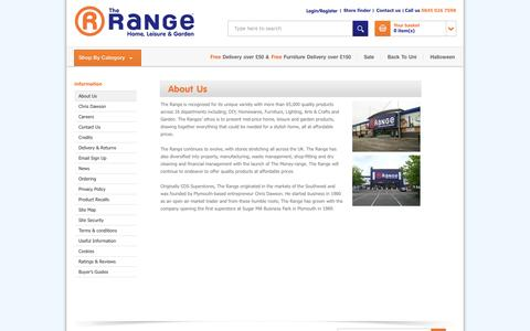 Screenshot of About Page therange.co.uk - The Range - About Us - captured Sept. 19, 2014