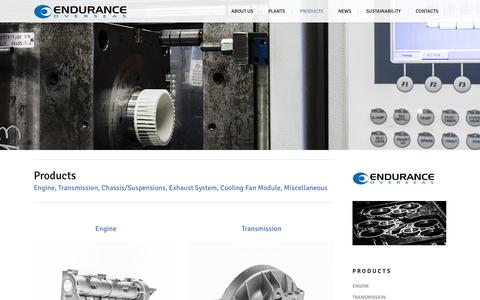 Screenshot of Products Page enduranceoverseas.com - Endurance Overseas |   Product Range - captured Jan. 29, 2016