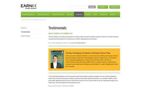 Screenshot of Testimonials Page earnix.com - Pricing & Customer Value Optimization Testimonials - captured July 19, 2014