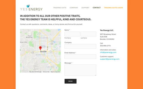 Screenshot of Contact Page yesenergy.com - Contact — Yes Energy - captured Dec. 11, 2018