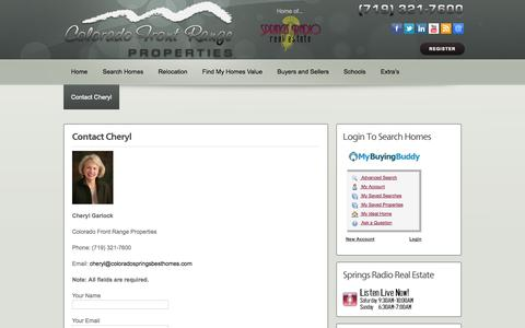 Screenshot of Contact Page coloradospringsbesthomes.com - cheryl garlock - Colorado Springs Best Homes - captured Oct. 3, 2014