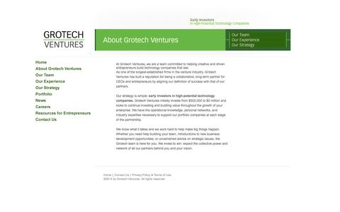 Screenshot of About Page grotech.com - Grotech Ventures | About Grotech Ventures - captured Oct. 3, 2014