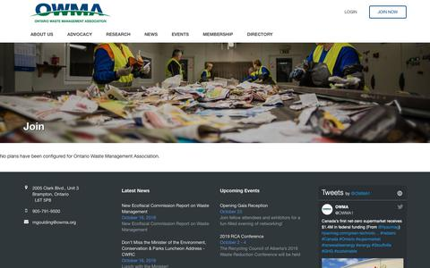 Screenshot of Signup Page owma.org - Ontario Waste Management Association - captured Oct. 18, 2018