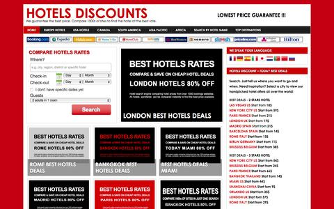 Screenshot of Home Page hotel-discount.com - Hotels Discounts - Cheap Hotels, Discounts, Hotel Deals and Offers - captured Feb. 20, 2016